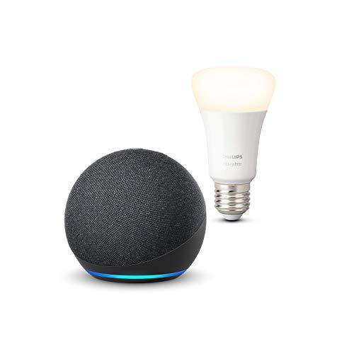 Echo Dot (4.ª generación), Antracita + Philips Hue Bombilla...