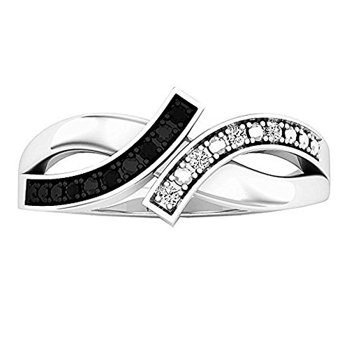 DazzlingRock Collection - Anillo de Compromiso para Mujer con Diamante Blanco y Negro Redondo de 0,06 Quilates (Peso Total), Plata de Ley