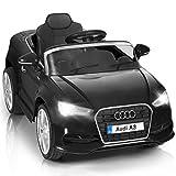 HONEY JOY Kids Ride On Car, Licensed Audi A3, 12V Kids Electric Vehicle with Parental Remote Control, Spring Suspension, Headlights, MP3 (Black)