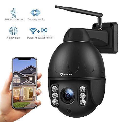 Dericam 1080P Outdoor IP Dome WiFi Überwachungskamera, 4X Optische PTZ Kamera, Autofokus, 30m Nachtsicht, Fester Betrachtungswinkel 90 °, Externer SD-Kartensteckplatz, Wetterfest IP65, S2C,Schwarz