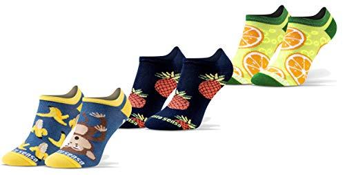Sesto Senso Calzini Corti Divertenti Cotone Fantasia Calze Donna Uomo 1-3 Paia Funny Socks Anguria Ananas Banana 35-38 3 Frutta