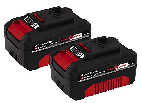 Originale Einhell Batteria Pxc-Twinpack 4.0 Ah Power X-Change, Li-Ion, 18 V, 2X 4.0 Ah, Adatta a Tutti I Dispositivi Pxc, Gestione Proattiva della Batteria, Cicli di Ricarica Adattati Alla Situazione