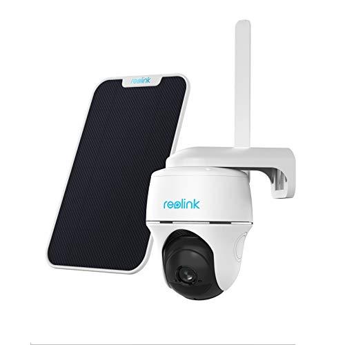 Reolink 1080P Telecamera Esterno Wireless con Connettività LTE 3G/4G, Videocamera Ricaricabile con Pan&Tilt, Audio a 2 Vie, Scheda Micro SD da 16GB e Vodafone V-SIM Incluse, Go PT con Pannello Solare