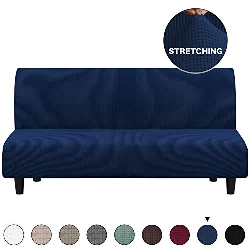 Turquoize Navy Blue Futon Slipcovers Spandex Jacquard Furnitue Cover/Lounge Cover, Machine Washable Spandex Form Fit Sofa Covers with Elastic Bottom Fully Covered Sofa Slipcovers (Futon, Navy)