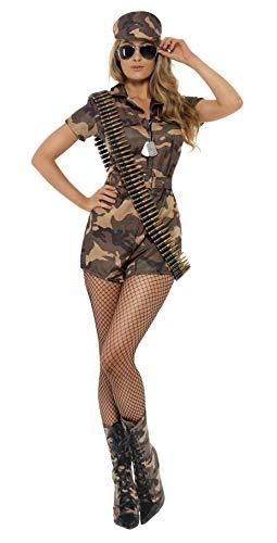 Smiffys-28864X1 Disfraz de Mujer Soldado Sexy, Camuflaje, con Mono de Pantalones Cortos, cinturó, Color, XL-EU Tamaño 48-50 (Smiffy'S 28864X1)