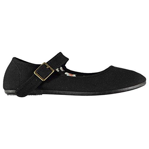 Slazenger Mujer Zapatillas Merceditas De Lona Mary Jane Negro 37