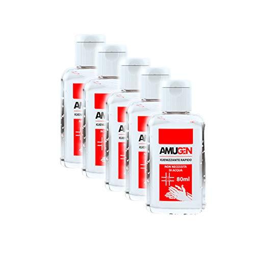 Pacco da 5 Gel igienizzante mani flacone 80 ml Amugen Codice: AMUG80