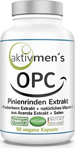 aktivmen´s OPC Pinienrindenextrakt 100:1 hochdosiert + von Experten* geprüft, 90 Kapseln, 100% vegan, pflanzlich, 1 Dose, Pinus pinaster atlantica, (1 x 55 g)