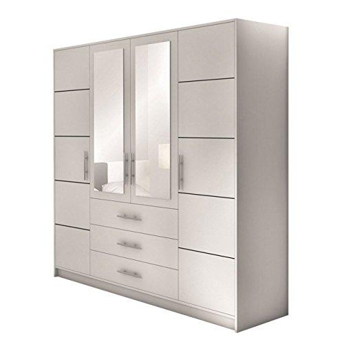 Mirjan24 Drehtürenschrank Bado 4D, Kleiderschrank mit Spiegel, Schubladen und Spiegeltüren, Elegantes Schlafzimmer Schrank, Jugendzimmer (Weiß)