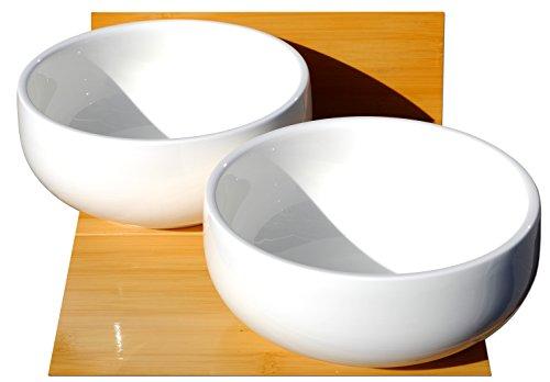 Ciotola profonda bianca in ceramica per zuppe e noodles: 18 cm x 18 cm x 8 cm circa X2