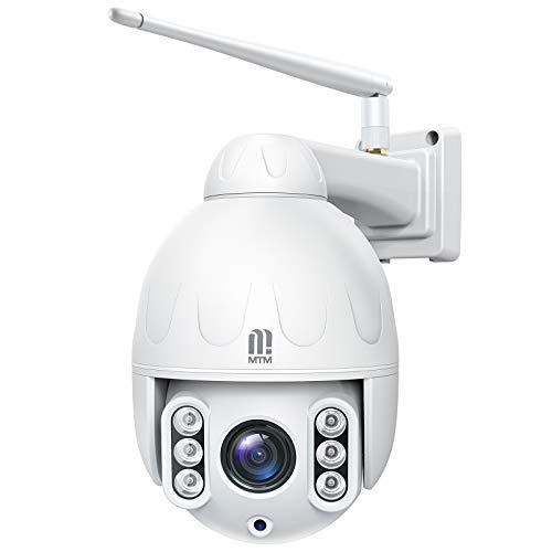5MP Telecamera Wifi Esterno,MTM PTZ IP Dome Telecamera di Sorveglianza,Zoom Ottico 5X,Visione Notturna 50m,Rilevazione Umana,Audio Bidirezionale,Scheda SD 32GB incorporata,Supporto ONVIF