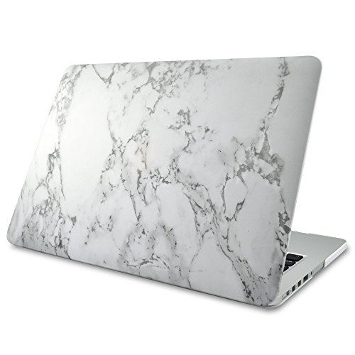 NovoTech Soft Touch Matte Finish Rubberized Hard Shell Case for MacBook Pro 13-Inch with Retina Display - White Marble