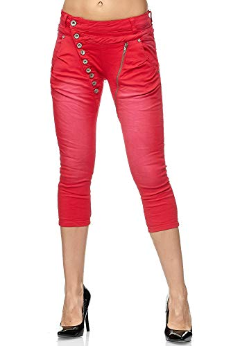 Elara 3/4 Jeans Donna Stretti Vita Alta Capri Chunkyrayan Rosso C9362K-24 Red-42 (XL)