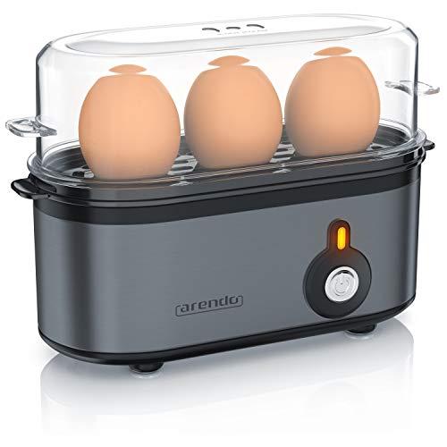 Arendo - Cuiseur à oeufs en acier inoxydable Threecook, Egg cooker 1-3 oeufs, Dur, Mollet ou à la Coque, Verre doseur avec Perce, Indicateur Lumineux, 210W, Base anti-dérapante, sans BPA, certifié GS