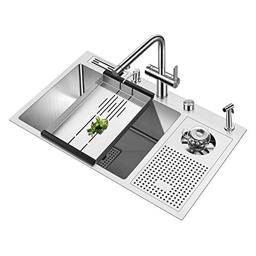 Handmade Brushed Sink 304 Stainless Steel 4Mm Thickness High Pressure Cup Washer Bar Counter Kitchen Sink with Knife Holder 1