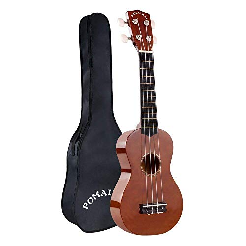 POMAIKAI Soprano Wood Ukulele Rainbow Starter Uke Hawaii kids Guitar 21 Inch with Gig Bag for kids Students and Beginners (brown)