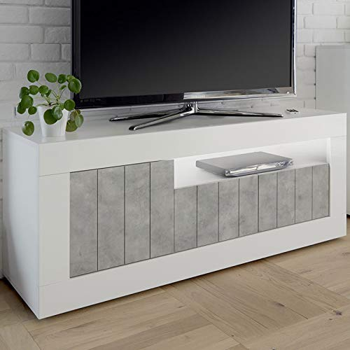NOUVOMEUBLE Mobile TV Bianco Effetto Cemento Grigio Moderno Urban 5