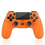 Mando para PS4, Mando Inalámbrico con Vibración Doble/3D Sensores de Movimiento/Panel Multitáctil/3.5mm Puerto de Audio, Bluetooth Gamepad Controlador para PS4/Pro/Slim/PS3/PS5/PC/Laptop(Naranja)