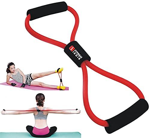 FITNESS INDIA™ Resistance Yoga Tube 8 Shaped Latex Band, Soft Chest Expander Fitness Exercise Yoga Pilates - Multicolour