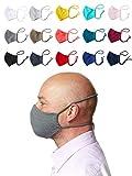 Enter the Complex® Mund und Nasenschutz zum Binden, Waschbar bei 60 Grad, mit Filterfach, Mundschutz, Jersey Nasenmaske aus Baumwolle, Damen und Herren (L), Petrol Blue