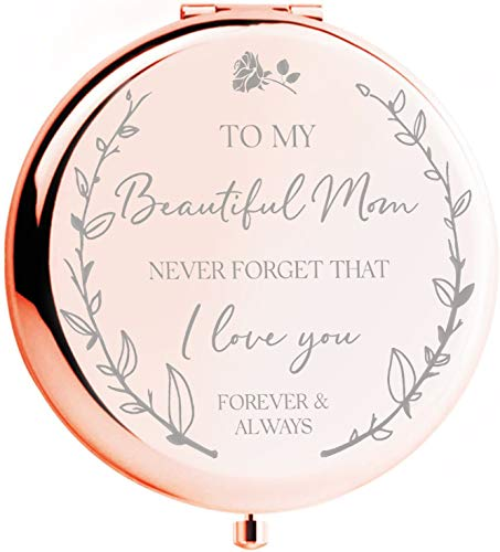 Mom Birthday Gifts I 'I Love You' Rose Gold Compact Mirror I...