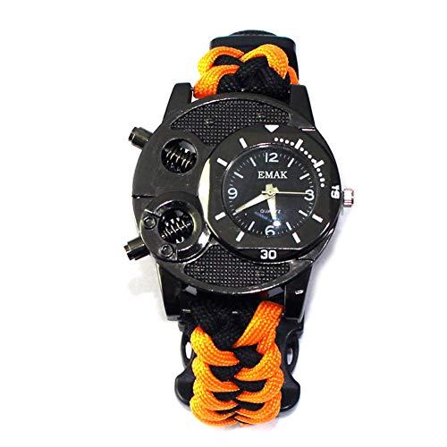 MRSGG Multifunktionsuhr für Herren, wasserdichte Regenschirmuhr, Überlebensausrüstung für Reisen, Kompass, Rettungsschwimmerpfeife, LED-Licht