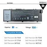 EMAKS 91Wh MFKVP Battery GR5D3 for Dell Precision 15 7510 7520;17 7710 7720;M7510 M7710 M28DH 1G9VM T05W1 451-BBSB 451-BBSF - 11.4V 91Wh 6-Cell