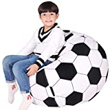 Stuffed Animal Storage Bean Bag Chair Cover for Kids, Teens and Adults, Extra Large Storage Bag with Zipper for Organizing Children Plush Toys (Cover ONLY) Large, Football