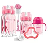 Dr. Brown's Options+ Baby Bottles Pink Gift Set with Silicone Teether, Pink Sippy Cup, Pink Bottle Brush & Travel Caps, Includes 6 Narrow Pink Baby Bottles