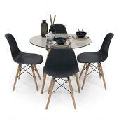 Homely - Conjunto de Comedor Tower Cristal. Mesa de Cristal Redonda de 90 cm y 4 sillas MAX Tower (Negro)