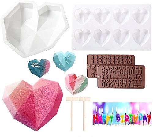 Molde Silicona Forma Corazón (6 piezas) -Molde Corazón Diamante Romántico + Bandeja Molde Corazón Cavidades + Molde Letra 2 Chocolate + 2 Martillos Madera, Kit Bricolaje Ideal para Tartas