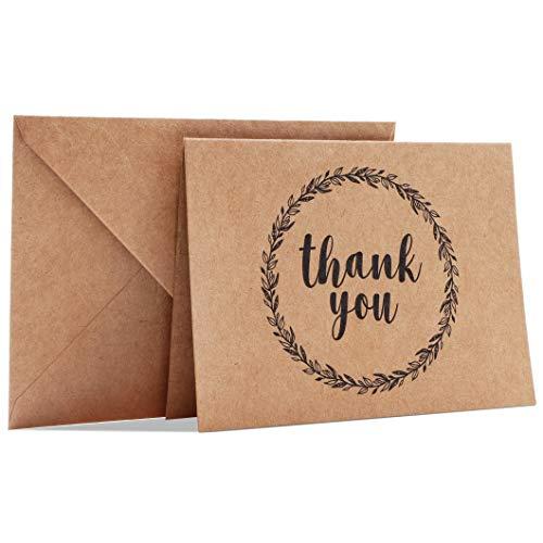 Paquete de 120 tarjetas de agradecimiento con sobres, interior en blanco, diseño de papel kraft café, perfecto para bodas, negocios, baby shower