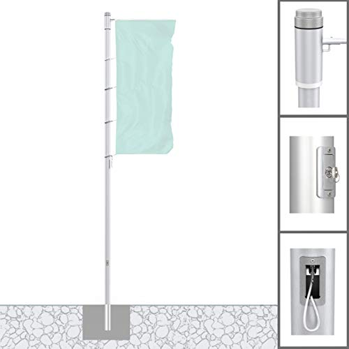 Vispronet® Alu-Fahnenmast 8 m/ø 75 mm Protect Extend ✓ Hissbarer, Drehbarer Ausleger ✓ Nahtlos Zylindrisch ✓ Diebstahlgesichert
