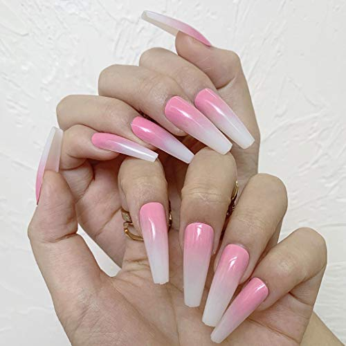 Outyua Ombre Extra Long Press on Nails Coffin Ballerina Gradeint Fake Nails Super Long False nails Acrylic Halloween Christmas Nails for Women and Girls 24Pcs (Pink)