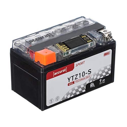 Accurat Motorradbatterie YTZ10-S 9Ah 130A 12V Gel Starterbatterie mit LCD Display Erstausrüsterqualität rüttelfest leistungsstark wartungsfrei