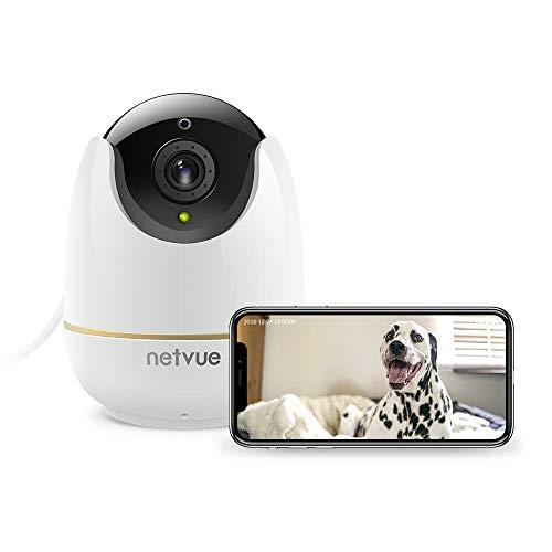 Videocamera Sorveglianza Interno WiFi, Netvue 1080P Full HD Webcam Wifi Senza Fili con Rilevamento di Umano Movimento, Zoom 8x, Visione Notturna, Audio Bidirezionale, Telecamera per Cani/Animali