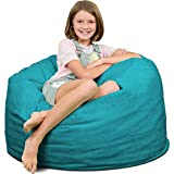 ULTIMATE SACK 3000 (3 Ft.) Bean Bag Chair: Giant Foam-Filled Furniture - Machine Washable Covers, Durable Inner Liner, 100% Virgin Foam. Comfy Bean Bag Chair. (Teal, Suede)