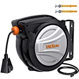 Retractable Extension Cord Reel TACKLIFE, 50FT+4.5, 14AWG SJTOW Electric Power Cord Reel, Slow...