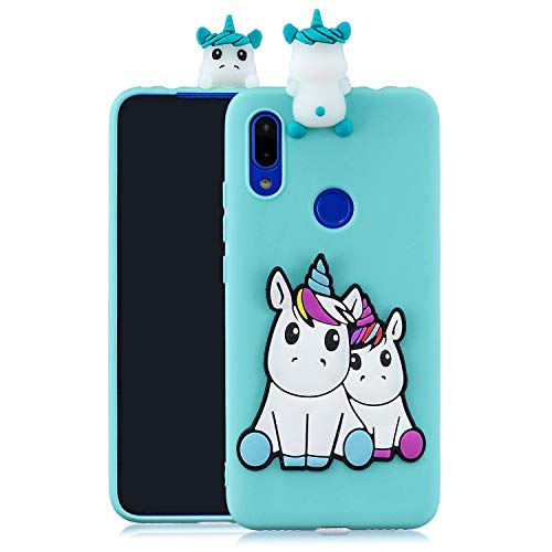 KANTAS Funda 3D Silicone para Xiaomi Redmi 7 Dibujos Animados Carcasa de Silicona Case Cover Diseño Unicornio Azul Bebé Gel Skin Flexible Case Ultra Delgado Fino Protección