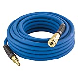 Estwing E1450PVCR 1/4' x 50' PVC / Rubber Hybrid Air Hose with Fittings Lightweight Kink-Resistant Compressed Air Hose with Solid Brass Couplings, Blue and Yellow