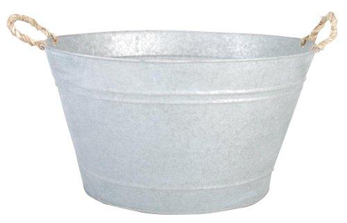 Esschert Design - Tinozza per Piante, 30 Litri, in Metallo zincato, Dimensioni: Circa 47,5 x 38,4 x 26,2 cm, Colore: Grigio (Terrazze e Giardini)