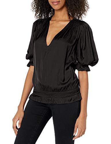 Short sleeve Puff shoulder Smocked waistband