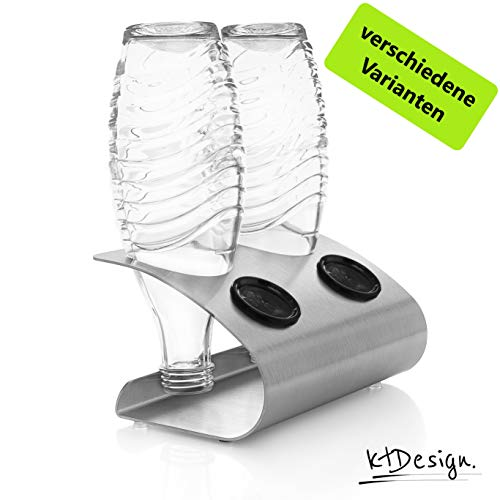 ktDesign Premium SodaStream Abtropfhalter aus Edelstahl für 2 Flaschen – SodaStream Flaschenhalter mit Abtropfboden und Deckelhalterung für SodaStream Crystal, Emil- und Glasflaschen, Made in Germany