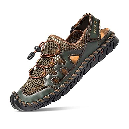 Sandalias para Hombre, Cuero Pescador Playa Punta Cerrada Hecho a Mano Transpirable Al Aire Libre Antideslizante Caminar Anticolisión Confort Senderismo Zapatillas Deportivas Zapatos Verde 44 EU