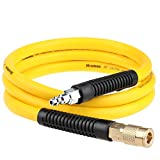 Hromee Hybrid Rubber & PVC Lead-in Air Hose 3/8 Inch x 6FT with Solid Brass 1/4' Industrial NPT Quick Coupler and Plug 300PSI Yellow Whip Air Compressor Hose
