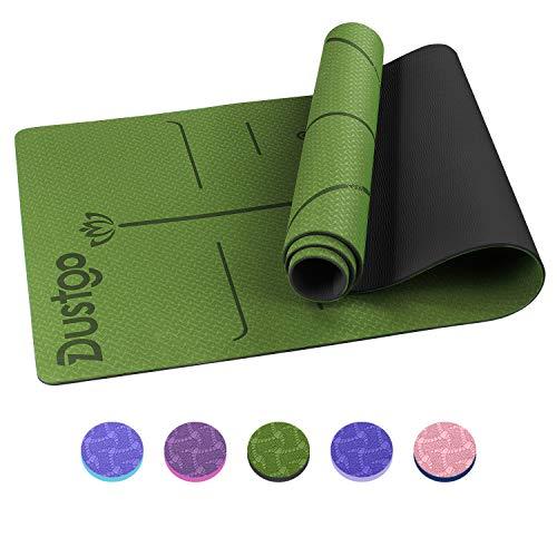 Dustgo Yogamatte Gymnastikmatte Yoga Matte rutschfest Jogamatte für Fitness Pilates & Gymnastik mit Tragegurt Maße 183cm Länge 61cm Breite (Grün/Schwarz)