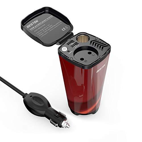 Inversor De Corriente BESTEK de 200W - 12V A 220V para Coche. Enchufe Schuko, con 2 puertos USB de 4.8A Y 1 Toma De Mechero De Coche