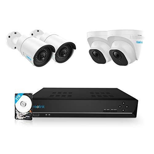 Reolink 5MP Kit Videosorveglianza PoE, 8CH 2TB 4K NVR con 4X 5MP Telecamera Esterno IP PoE Impermeabile, Visione Notturna di 30 Metri, Rilevazione del Movimento, Registrazione 24/7, RLK8-520B2D2-5MP