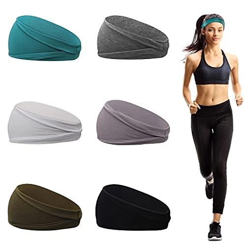 6 Pezzi Fasce Sportive da Donna, Fasce Per Capelli Donna in Cotone , Fascia Antisudore Elastica per Yoga, Corsa,...