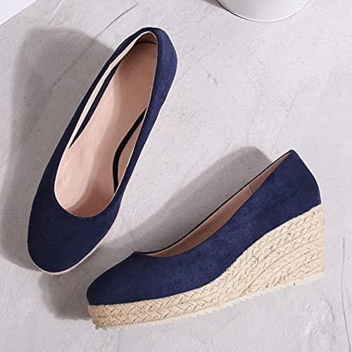 DZQQ 2021 Princess Kate's Same Suede Wedge Single Shoes Alpargatas de Boca Baja para Mujer Primavera y otoño Nuevas Sandalias Tacones Altos